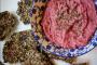 Beetroot Hummus with Za'atar Flax Crackers